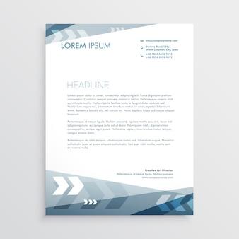 Blauer Briefkopfentwurf mit geometrischen Linien für Ihr Geschäftsbriefpapier