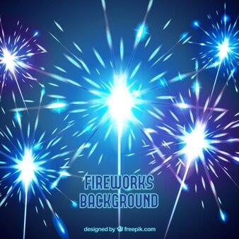 Blauer Hintergrund mit Feuerwerk