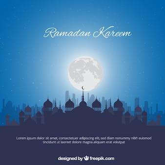 Blauer Hintergrund mit Moschee Silhouette