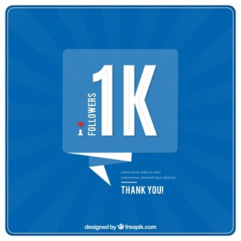 Blauer Hintergrund von 1000 Follower mit Sprechblasen
