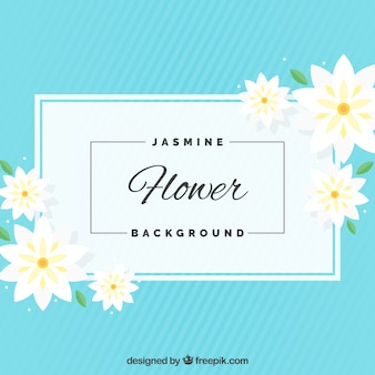 Blauer Jasminhintergrund im flachen Design
