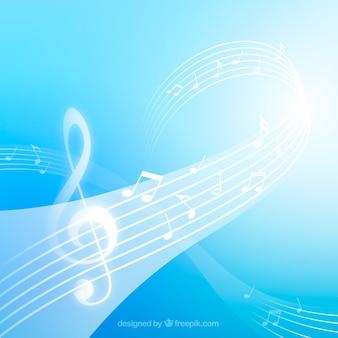 Blauer Pentagram-Hintergrund mit Violinschlüssel