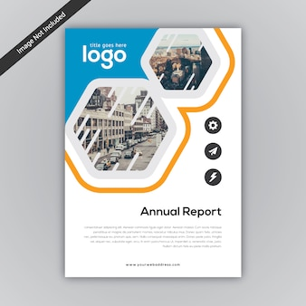 Blauer und weißer Jahresbericht