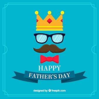 Blauer Vatertag Hintergrund mit Krone, Schnurrbart und Brille