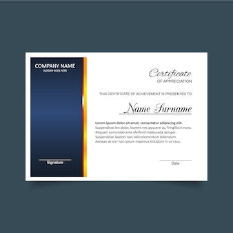 Blaues und weißes Zertifikat der Anerkennungsvorlage