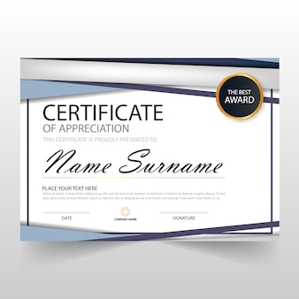 Blue ELegant horizontale Zertifikat mit Vektor-Illustration