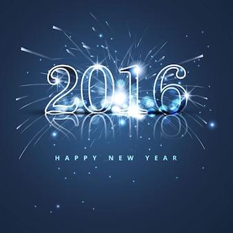 Blue glitter neue Jahr 2016 Karte