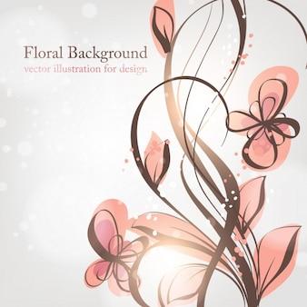 Blume Linienwerk- grafischem Text wirbel