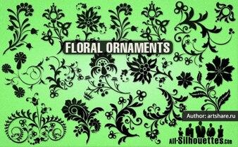 Blume Silhouetten und Ornamente Vektor