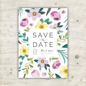 Blumen-Aquarell sparen die Datumskarte