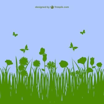 Blumen Landschaft Vektor-Vorlage