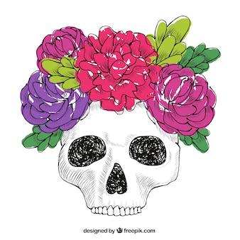Blumen-Schädel und Hand gezeichnete Blätter