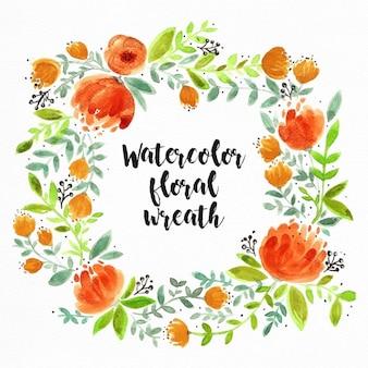 Blumenaquarell-Kranz mit orangefarbenen Blumen