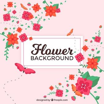 Blumenhintergrund mit Schmetterling