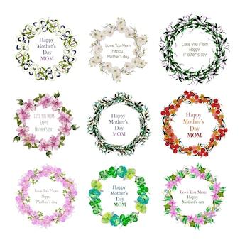 Blumenkranz Mütter Tag Design