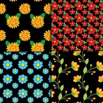 Blumenmuster auf schwarzem Hintergrund Sammlung