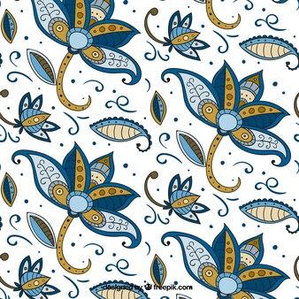 Blumenmuster Hand in Batik-Stil gezeichnet