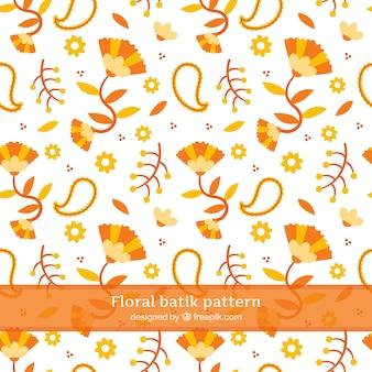 Blumenmuster und abstrakte orange Formen