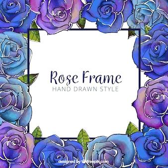 Blumenrahmen in blauen und lila Tönen