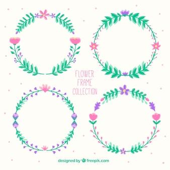 Blumenrahmen mit kreisförmigem Design