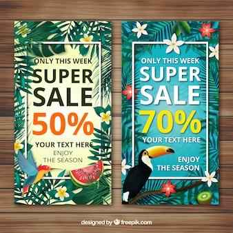 Blumige Sommer Verkauf Banner