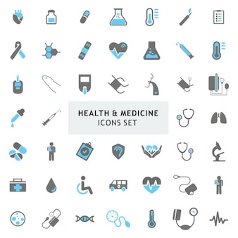 Blur und Grau bunt Gesundheit Medizin Icons Set