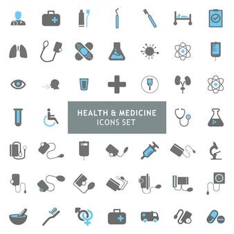 Blur und Grau bunt Gesundheit und Medizin Icon Set
