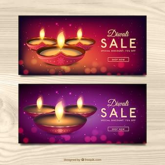 Bokeh Banner von Diwali Verkäufe