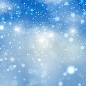 Bokeh Hintergrund mit Schneeflocken
