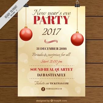 Bokeh Party Plakat mit roten Kugeln für Weihnachten