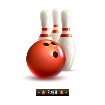 Bowling isoliert Set