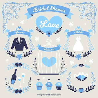 Brautduschelemente in den blauen Tönen