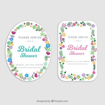 Brautpartyeinladungen mit flachen Blumen