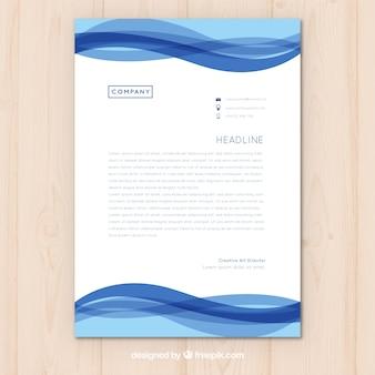 Briefkopfschablone mit blauen Wellen