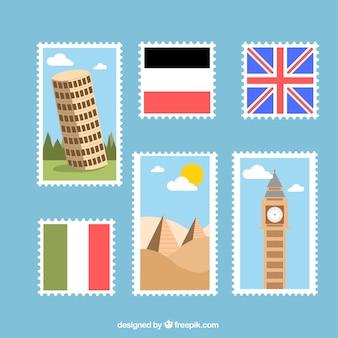 Briefmarken von Ländern in flachem Design