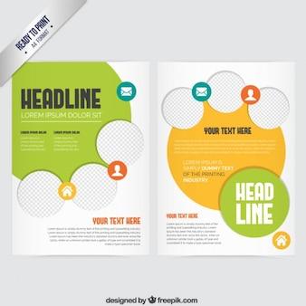 Broschüre mit gelben und grünen Elementen