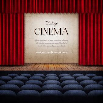 Bühne im Vintage-Kino Hintergrund