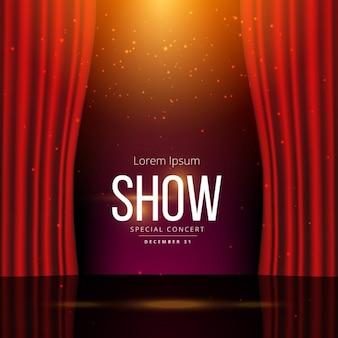 Bühne mit rotem Vorhang geöffnet