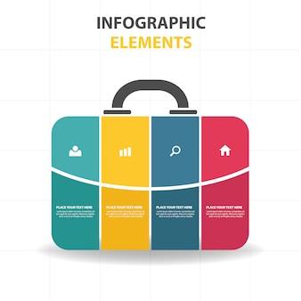 Bunte abstrakte Beutelgeschäft Infografische Schablone