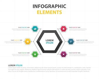 Bunte abstrakte hexagon Geschäft Infografische Vorlage