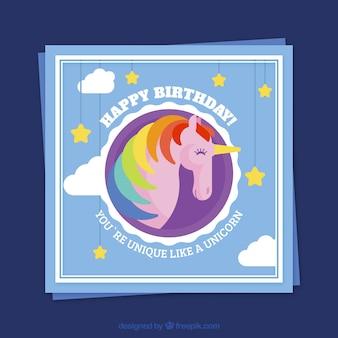 Bunte Einhorn Geburtstagskarte