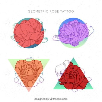 Bunte geometrische Rosen Tattoo-Sammlung