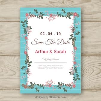 Bunte Hochzeitseinladung mit Blumenrahmen
