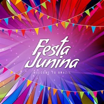 Bunte moderne Festa junina Feier Hintergrund
