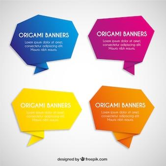 Bunte Origami Banner Sammlung