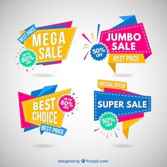 Bunte Origami Verkauf Banner Sammlung