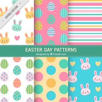 Bunte Ostern Muster in flaches Design