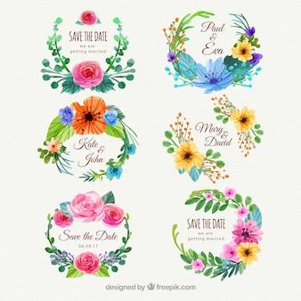 Bunte Packung von Blumenhochzeitsaufklebern