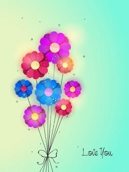 Bunte Papier Blumen in Herzform auf glänzenden Hintergrund, Elegante Blumenhintergrund für Gruß oder Einladungskartenentwurf