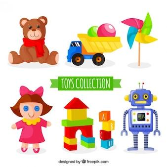 Bunte Spielzeug Sammlung